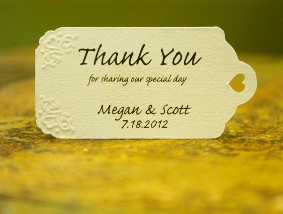 Personalized Thank You Tags - Custom Embossed Thank You Tags, Your Colors, Your Letters.Perfect for Wedding or Party Favors