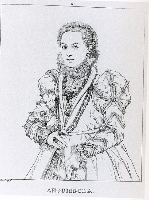 Engraved copy of Sofonisba Anguissola, Self-Portrait, 1560s. This self-portrait apparently commemorates Philip II's gift of a gold chain. Her sumptuous pearl embroidered dress stands in contrast to the simpler dress of her earlier self-portraits. This dress was possibly given to her by the queen. The three-quarters format also contrasts with the half-length format of her earlier portraits. This now lost painting constructs her status as a member of the court of Spain.