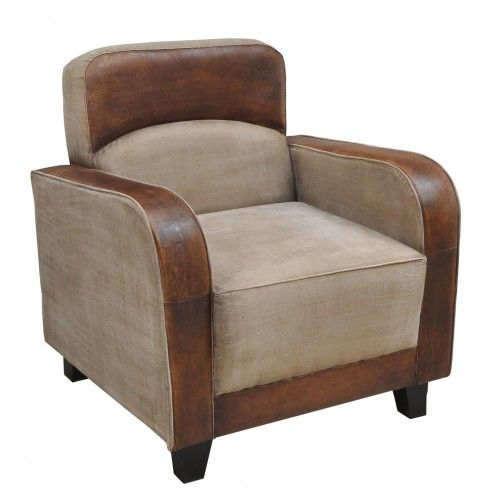 Canvas and Leather Lounge Chair