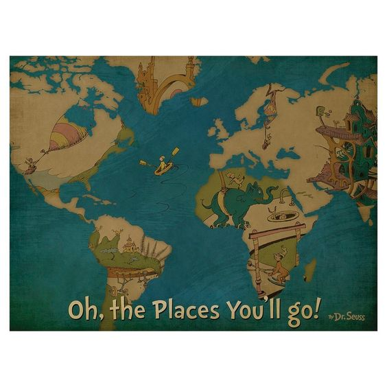 Oh The Places You�ll Go Canvas Map 18x24