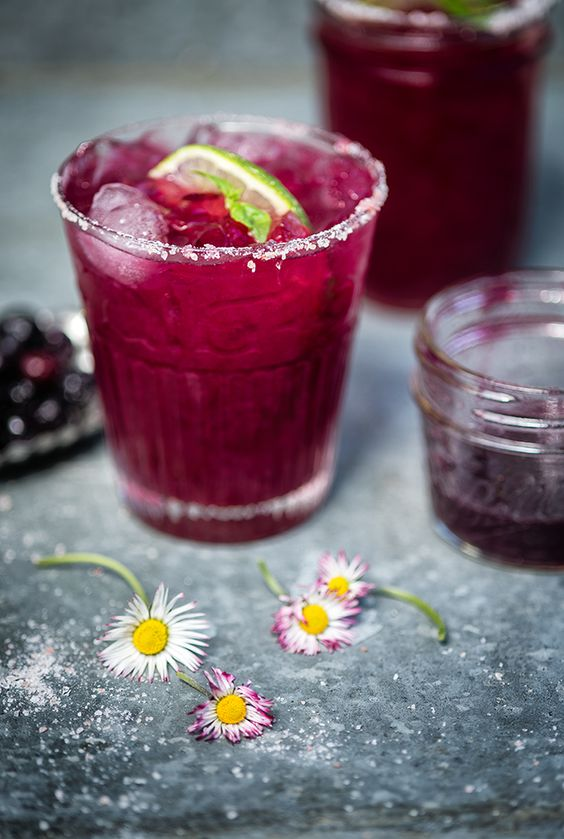 Blueberry Basil Margarita - a sweeter take on the classic cocktail
