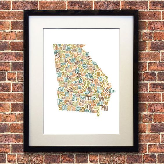 Georgia State PRINTABLE Typography Map Art INSTANT DOWNLOAD