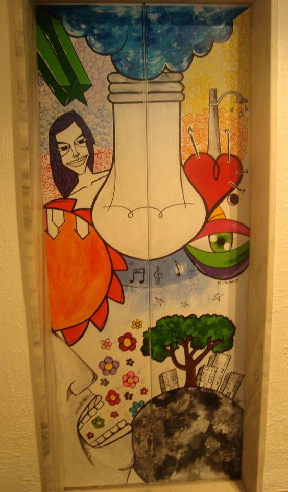Pintura acrilica sobre porta de elevador