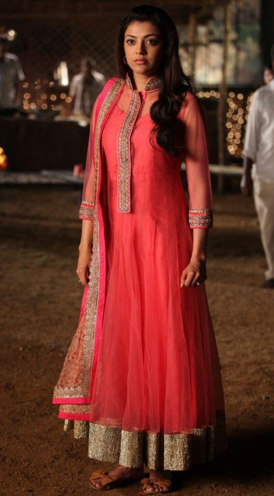 Kajal Agarwal in Pink Long Anarkali Salwar Kameez - Hot ...