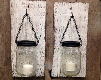 Porte-bougies en bois mason jar Grange