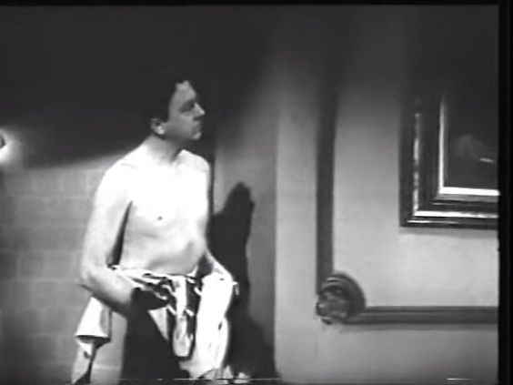 A shirtless Jack Haley | One Body Too Many (1944) | Directed by Frank McDonald; for Paramount