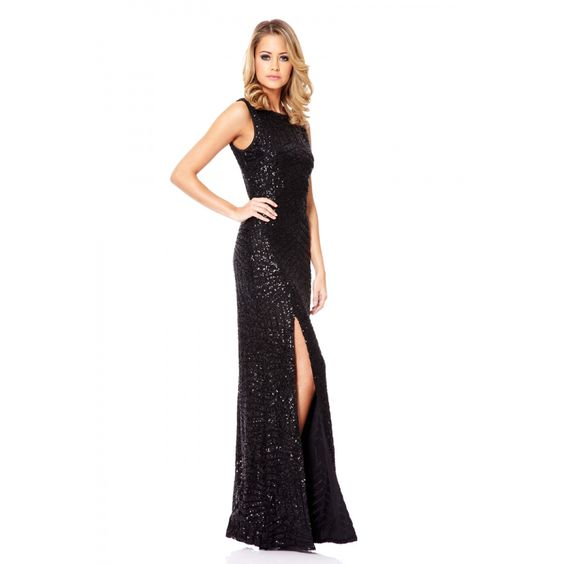 Black zig zag sequin maxi dress
