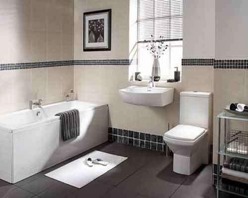 Bathroom Tiles Mosaic Border a classic bathroom with black 1x1 mosaic tiles as border on top