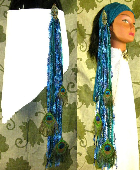 MERMAID Peacock Feathers YARN FALLS Belly Dance by MagicTribalHair