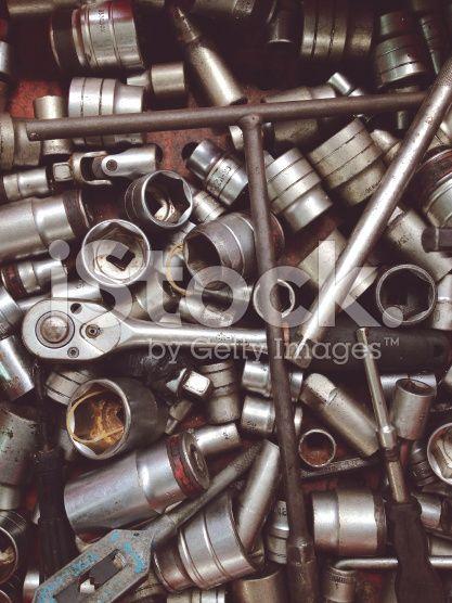 Verschiedene alte Handwerkzeuge Hintergrund  – lizenzfreie Stock-Fotografie