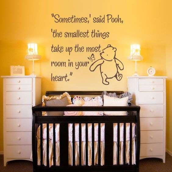 Vinyl wall decal sticker art smallest things small for Classic pooh wall mural