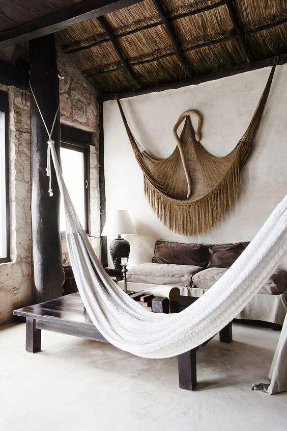 Hammocks inside straw hut