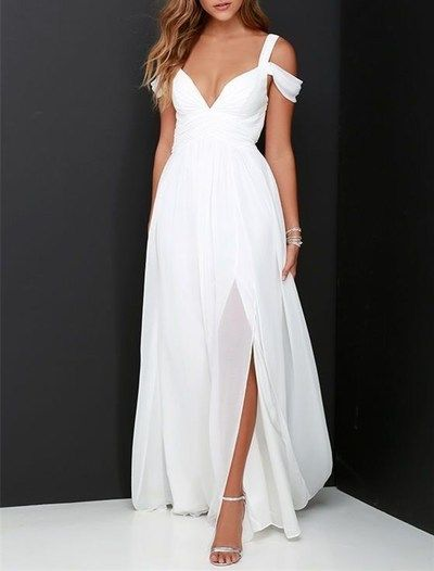 2016 Custom White Chiffon Prom Dress,Sexy Off The Shoulder Evening Dress