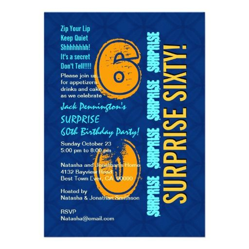 SURPRISE 60th Birthday Modern Blue and Gold A04 Personalized Invitation