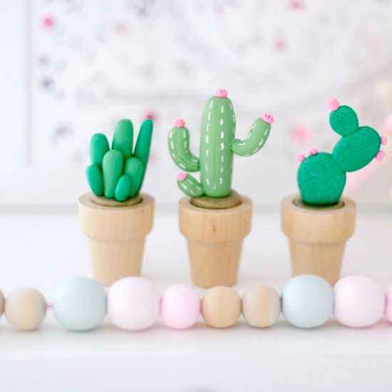 These little polymer oven bake clay cacti are the bees ...