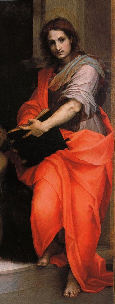Andrea del Sarto, Madonna of the Harpies, 1517, Uffizi (detail: St John the Evangelist):