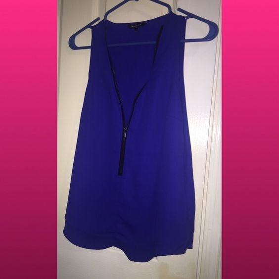 Royal blue shirt Sheer and flowy royal blue shirt with zip up neckline. Nwot Tops Tank Tops