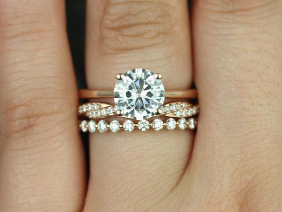 Wedding Set Bubbles Moissanite Band Clean Design Rings Stackable Rings