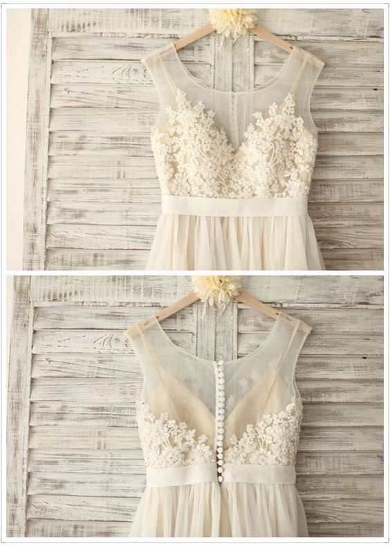 Chiffon Hochzeit Spitzenkleid mit von SimpleLoveWDress auf Etsy