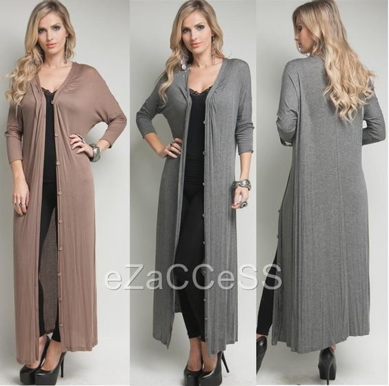 Details about Sexy Womens Long Cardigan Sweater Duster Coat Cover
