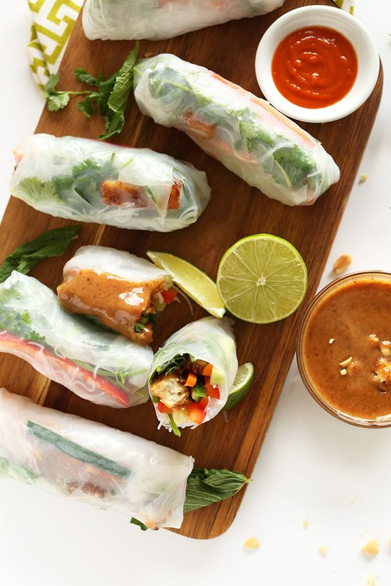 Simple, Fresh Vietnamese Vegan Spring Rolls with Crispy Tofu and a DELICIOUS Almond Butter Dipping Sauce! Perfect for busy weeknights and light weekend snacking #vegan