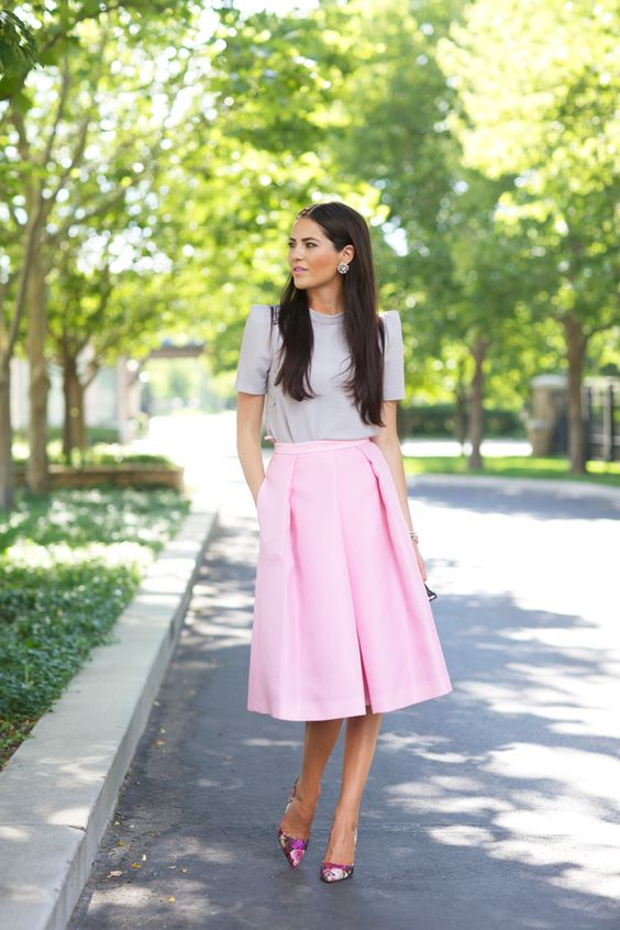 Light pink Tibi skirt | Fashion | Pinterest | Peonies, Pump and Grey