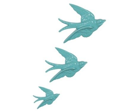Retro swallow wall decoration, pale blue