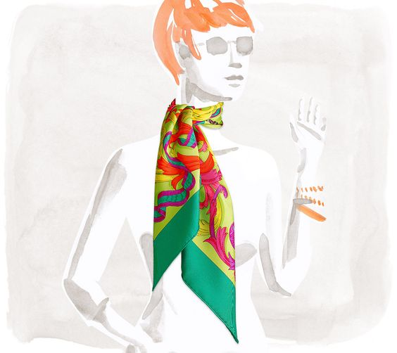 Scarves Hermès Green - Silk Twill - Scarves 90 - Women | Hermès, Official Website (Le Mors a la Conetable)