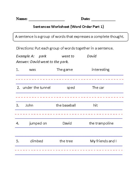 Simple Sentences Worksheet Word Order Part 1 Beginner – Constructed Travel Worksheet