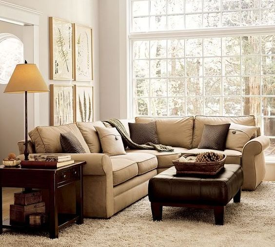 Pictures Of Pottery Barn Pierce Sectional And Blue Walls