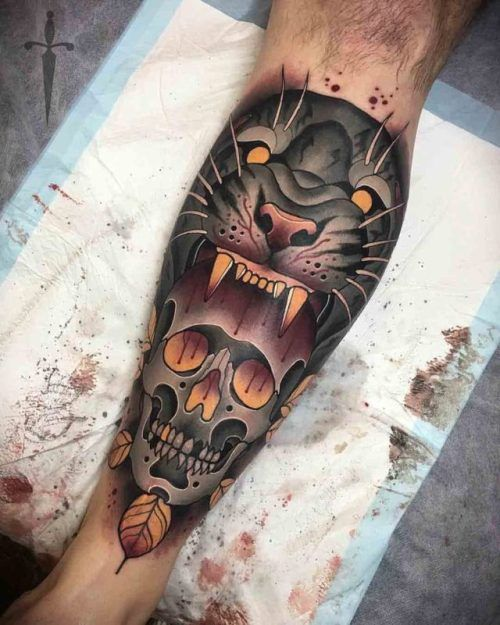 Skull And Tiger Tattoo On Calf Best Tattoo Ideas Gallery Cool Tattoos Calf Tattoo Traditional Tattoo