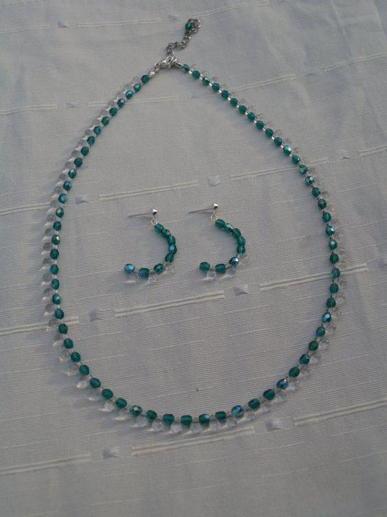 Prachtige set van groene glaskristallen en door MadebyMaeJewels, €25.95