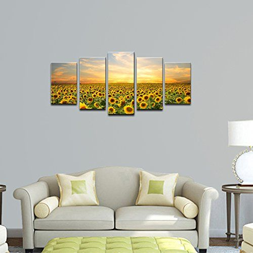 Amazon Com Wieco Art Sunflowers Canvas Prints Wall Art Landscape Pictures Paintings Ready To H Wall Art Canvas Prints Modern Wall Art Canvas Canvas Art Prints