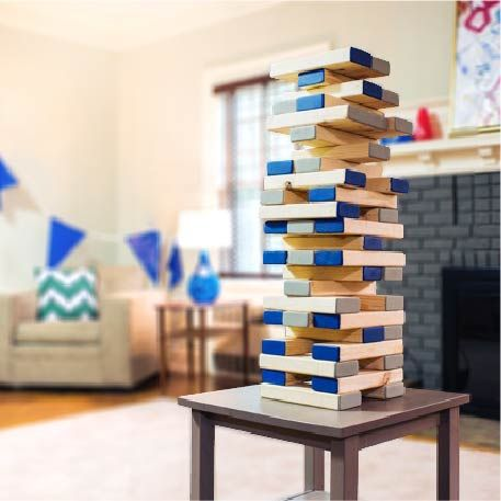 Need a fun activity for your football party? Here's a big idea for you. For complete details on this balancing block tower visit http://sm.lowes.com/R2C4.