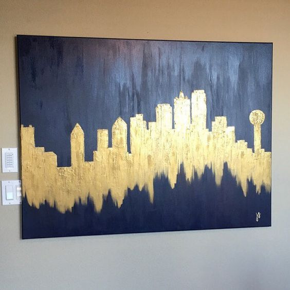 Gold Dallas Skyline Thin gallery-wrapped canvas made with gold acrylic paint, with an overlay of Golden Molding Paste for texture. Duplicates can be made, however please expect slight variances. Please message me with requests to for sizes, alternate colors, etc.