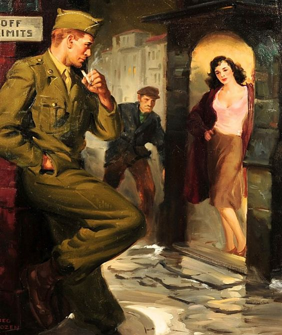 "Jerome Rozen - Even without that Off Limits sign, soldier boy should probably move on. The painting was on the cover of the paperback ""Casualty"" by Robert Lowery."