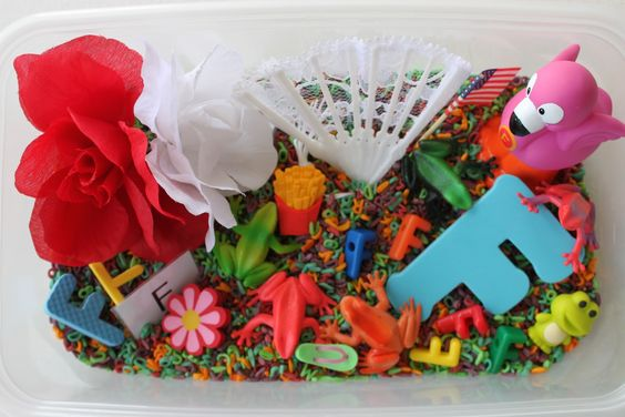 This is a letter sensory tub for F, However I like the idea of a sensory tub with all of the letters hidden in some sort of sensory material to hunt for particular letters