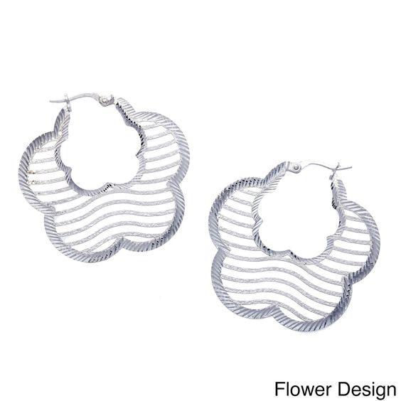 La Preciosa Sterling Silver Diamond-cut Lightweight Earrings (