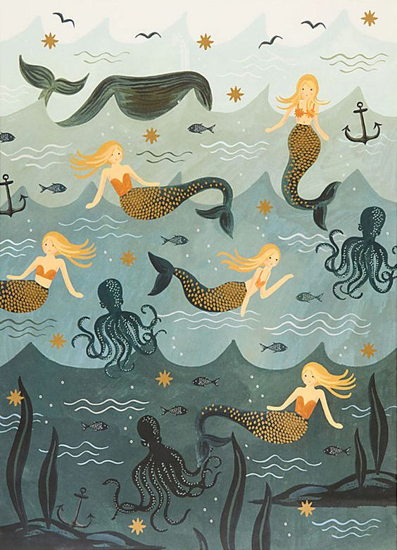 Mermaids and octopi wrapping paper by Rifle Paper (Paper Source exclusive)