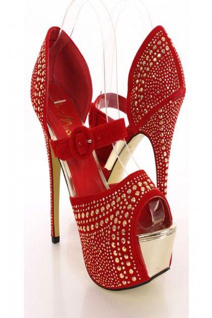 Red Faceted Beaded Platform Heels