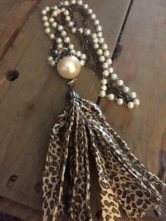 Handcrafted art glass and tassel necklace brass chain 30 inches long