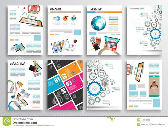 Set Of Flyer Design, Web Templates. Brochure Designs, Infographics Backgrounds Stock Vector - Image: 47364893