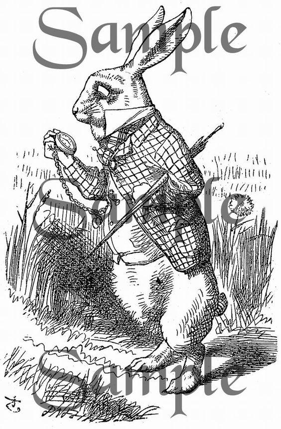 Vintage Digital Download - Printable Graphic Jpeg or PDF (Item No. AIW-005-1211-DI) Alice in Wonderland 005 (bw). $1.00, via Etsy.