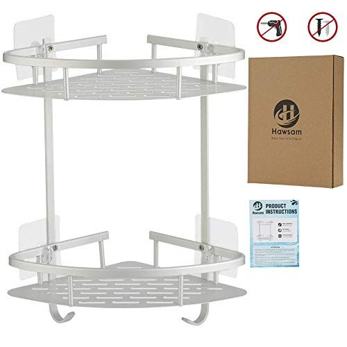 Hawsam No Drilling Bathroom Corner Shelves Aluminum 2 Tier Shower Shelf Caddy Adhesive Storage Basket Shampoo Review Shower Shelves Bathroom Corner Shelf Shower Corner Shelf