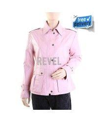 Pink Leather Biker Jackets Women  Roselle