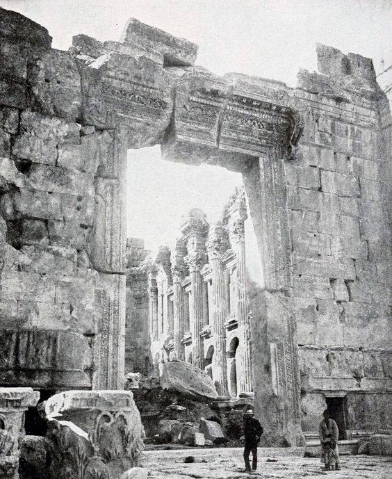 The doorway at the Temple of Jupiter, Baalbek, Syria formerly named Heliopolis.