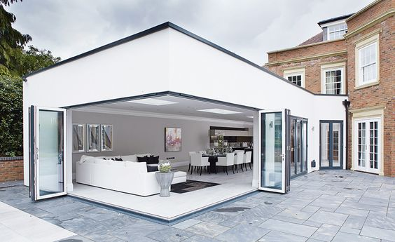 corner bi-fold doors on an open plan kitchen extension by Origin