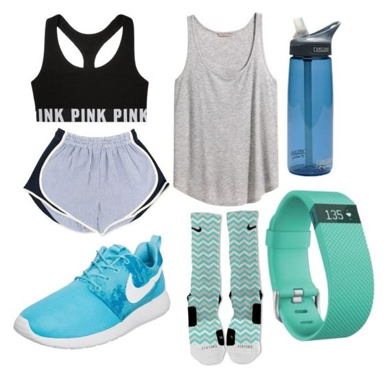 """Summer // Day 4"" by preppy-pearlgirl ❤ liked on Polyvore featuring мода, NIKE, H&M, Victoria's Secret, CamelBak, Fitbit, women's clothing, women, female и woman"