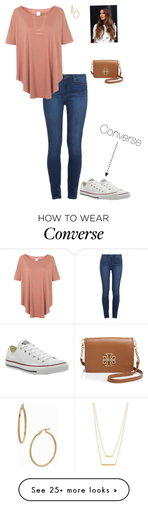 """""""C Is For Converse"""" by preppyygirll on Polyvore featuring Converse, Paige Denim, Topshop, Jennifer Zeuner, Tory Burch and Bony Levy                                                                                                                                                      More"""
