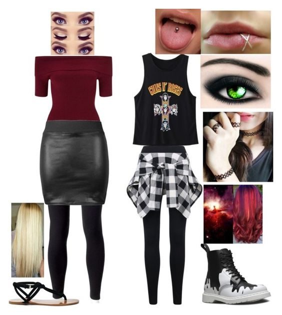 """Ashley V.s Quinn"" by frostbiten ❤ liked on Polyvore featuring WithChic, Bourjois, Jockey, Miss Selfridge, Dr. Martens and Sole Society"